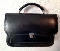 Skórzana torebka damska, mała - używana, vintage, PRL
