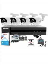 Monitoring zestaw 4kamer zewnętrznych full HD dysk 1t