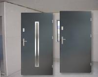 Sprzedam drzwi zewnętrzne stalowe Antracyt Inox Szyba Nowe