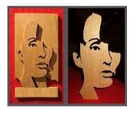 portret w drewnie