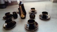 Piękny stary zestaw porcelanowy złote dodatki