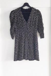 Sukienka Zara czarna kwiaty wzór