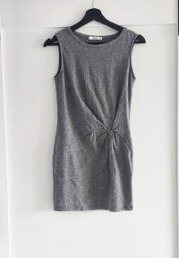 Szara melanżowa sukienka Mango drapowanie XS