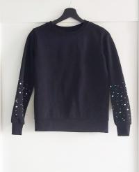 Czarna bluza cekiny ćwieki koraliki Reserved XS