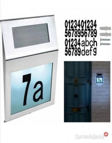 Numer domu podświetlany solar
