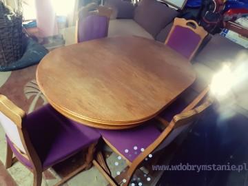 Drewniany rozkładany stół + 5 krzeseł 450 zł Możliwy dowóz