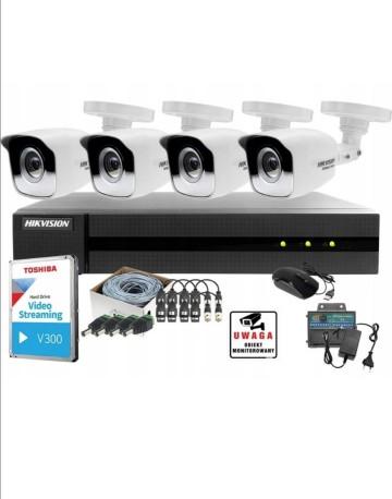 Zestaw monitoringu 4kamer zewnętrznych hikvision