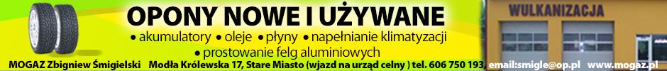 MOGAZ, opony nowe i używane, akumulatory, oleje, płyny, klimatyzacja